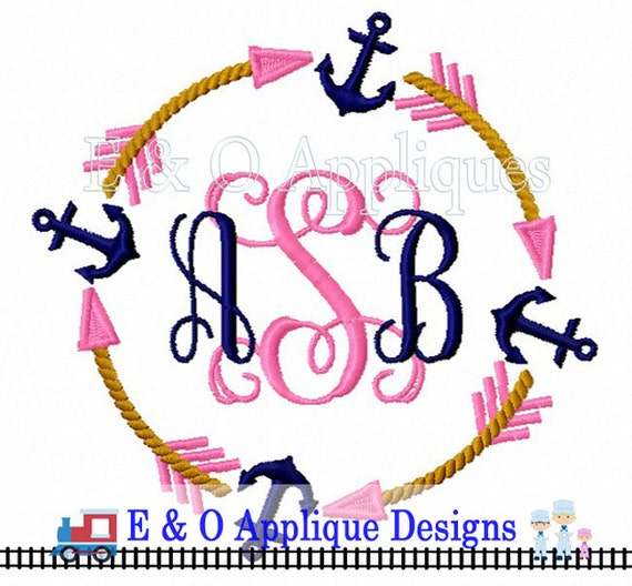 Arrow Anchor Monogram Machine Embroidery Design Tribal Embroidery