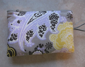 lavender and yellow print padded makeup jewelry bag