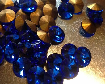 24 ss34 Sapphire Rivoli Rhinestones Preciosa Brand Size 34 Preciosa Rivoli 7mm Sapphire rivoli
