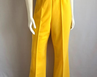Vintage Unisex 70's Yellow, Bell Bottom, Pants, High Waisted (XXL)