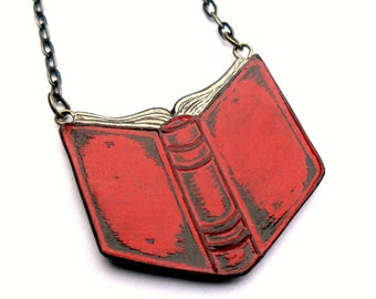 Back to School, Open Book Necklace, Red Book Necklace, Bibliophile Gift, Gift for Book Lover, Teacher Gift, Graduate Gift, Book Worm Gift