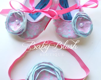 Hot Pink Lace on Aqua Baby Ballerina Slippers with Matching Headband