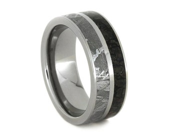 Handmade Meteorite Ring with Dinosaur Bone, Titanium Wedding Band For Men