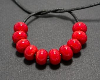 Red lampwork spacer beads, Lampwork spacer beads set, Lampwork beads, Red glass spacer, Lampwork spacer