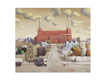 Battersea Power Station Card - City Art - Blank greeting card - London Art