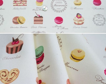Yuwa Fabric Petit Macaron and sweets half meter 19.6 by 42 inches