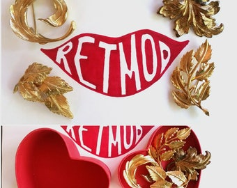 4 Beautiful Vintage 50s 60s Gold Leaf Leaves Brooches Pins AS IS Lot