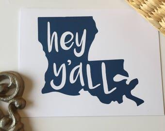 Louisiana Greeting Card, Hey Y'All Card, Louisiana Gift, Louisiana Card Set, Love from Louisiana, New Orleans, NOLA, Made in Louisiana