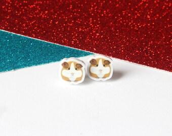 Guinea pig stud earrings, girls earrings, cute earrings, hamster earrings, guinea pig jewellery, handmade earrings, acrylic earrings