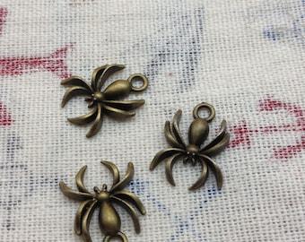 30pcs 10x19mm antique bronze spider araneid charms