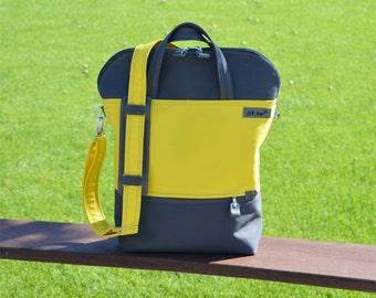 Yellow Grey Zippered Convertible Backpack, Unisex Tote Crossbody Bag, Macbook School bag, Gift for Men Women, Birthday Present for wife