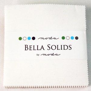 Moda Bella Solids - WHITE - CHARM PACK - #9900-98 - Neutral - Pre-Cut