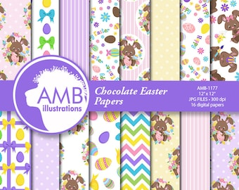 Chocolate Easter Bunny Papers, Easter Ribbons Paper, Scrapbook Paper Patterns, Chocolate Easter Eggs Paper, Commercial Use, AMB-1177