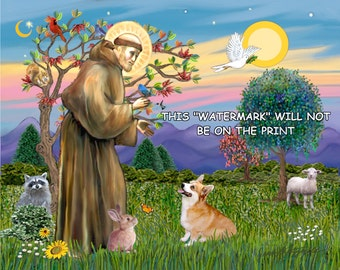 DIGITAL DOWNLOAD -  8x10 Saint Francis & Pembroke Welsh Corgi
