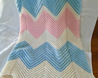 Vintage Pastel Colors Crocheted Baby Afghan / Crochet Blanket / Lap Blanket / Sofa Blanket / Snuggle Blanket / Travel Blanket /Pink And Blue