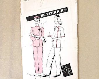 Vintage 40's Sewing Pattern, Chinese Pajamas, Butterick 2809, Vintage Size 16, Bust 34, SMALL Asian Inspired Blouse and Pants