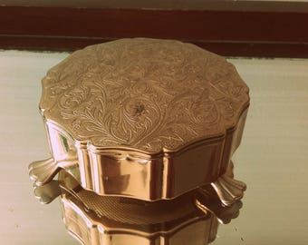 Vintage 50's Brass footed Stratton Trinket jewellery jewelry box red velvet lining