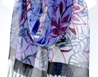 Hand Painted Silk Shawl, Purple Silk Scarf Large, Japan Scarf, Kimono Silk Scarf, Ombre Purple Kimono Floral Scarf, Silk Chiffon Scarf,