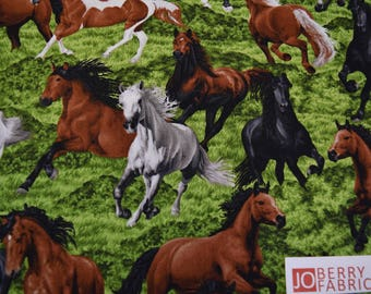 Horses from the Horse Play Collection by Oasis Fabrics.  JoBerry Fabrics, Fabric by the Yard.