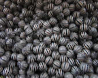50 no hole balls #2,  8mm balls in  STRIPE GREY  w BLACK, vintage and priced to sell, craft supply, jewelry findings