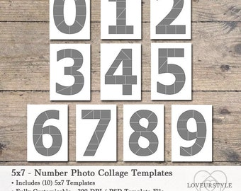 5x7 Photo Card Template Pack, Numbers Template Pack, Number Templates, Photo Collage Templates, Numbers 0 thru 9, Photography Templates