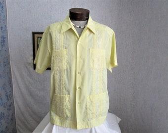 70s XL Haband Guayabera Men's S/S Shirt Lemon Yellow
