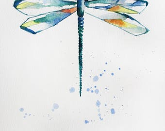 ORIGINAL watercolor DRAGONFLY,  painting watercolor, original art for home, decor, gift art, Nature Illustration, fairytale gift OOAK