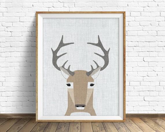 White Tail Deer- art print, large art, mid century modern wall art, art for kids, nursery decor, nursery wall art, woodland nursery, nursery