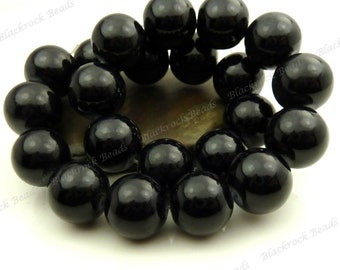 16mm Black Round Glass Beads - Smooth, Shiny, Opaque, Painted, Large Beads - 12pcs - BL18