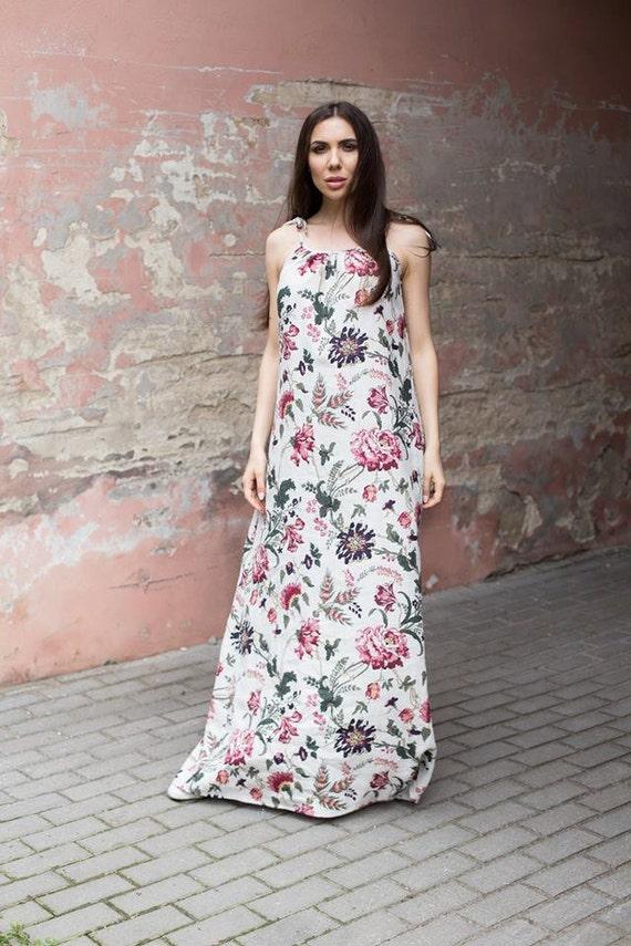 flax linen High long linen Adjustable Festival dress gypsy dress Maxi Softened Straps Floral dress dress boho quality dress 5WAqWFOZ