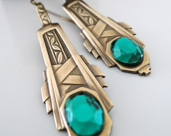 Art Deco Earrings - Emerald Green Earrings-  Vintage Earrings - Brass Earrings - May Birthstone - handmade jewelry