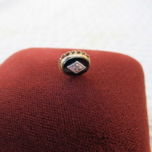 Antique Single 14k Yellow Gold Onyx with Diamond Accent Pierced Stud Earring-Unisex Man Woman