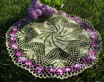Large crochet doily handmade pastel Pink Purple and ombre green cotton.