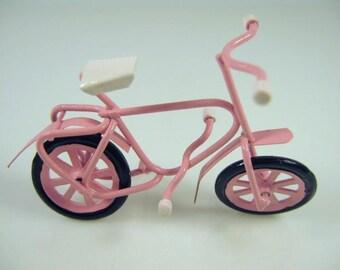 Dolls house miniature pink bike