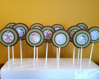 LITTLE SAFARI Cupcake Toppers - Baby Shower Cupcake Toppers - Birthday Party Cupcake Toppers Set of 12