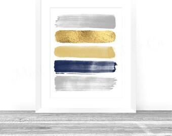 Abstract Art Print, Paint Strokes, Gold Navy Gray Abstract Painting, Abstract Wall Art Digital Art, Boys Nursery Art Print, Office Decor Art