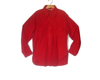 Vintage 70s Flannel Work Shirt Woolrich Camping Hiking Red Large