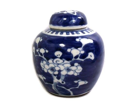19th Century Antique Chinese Blue & White Prunus Ginger Jar