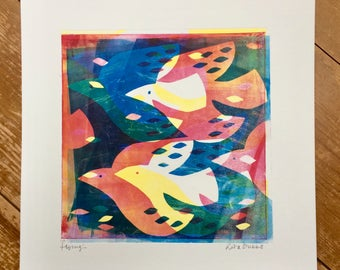 Flying - Original Monoprint contemporary wall art