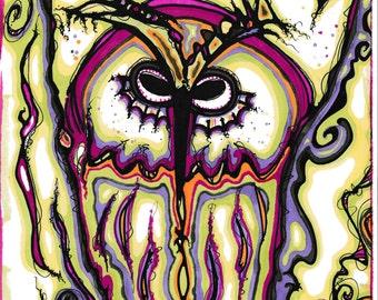 Giclee art print, prismacolor, owl ii, 8x10