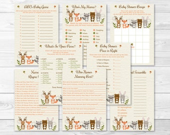 Woodland Forest Animal Baby Shower Games Package / 8 Printable Games / Woodland Baby Shower Games / INSTANT DOWNLOAD A187