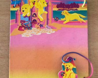 Vintage Lisa Frank Sandcastle Puppies Magnetic Dry Erase Board