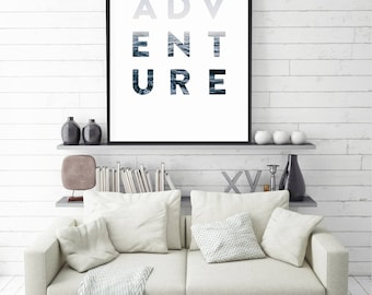 Adventure Print, Adventure Wall Art, Modern Poster, Minimal Style, Instant Download, Large size,  Resizable, Home Decor, Scandinavian Poster
