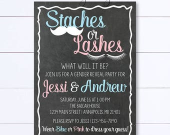 Chalkboard Staches or Lashes Gender Reveal Invitation, Gender Reveal Invite, Staches Or Lashes, Baby Reveal Invite, Gender Reveal Party