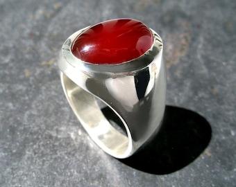 Mens Heavy Oval Carnelian Agate Ring in Sterling Silver