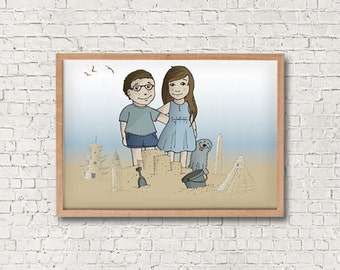 Wedding Portrait - Couple Portrait - Custom Illustration - Custom Drawing