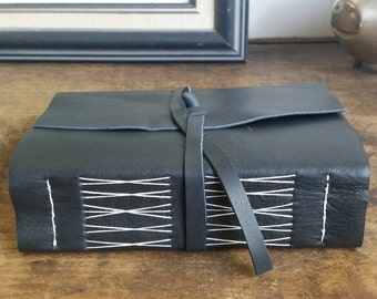 Chunky Leather Journal, Dark Gray Hand-Bound 4.5 x 6 Journal by The Orange Windmill on Etsy 1830