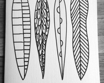 Coloring cards for kids-Feathers