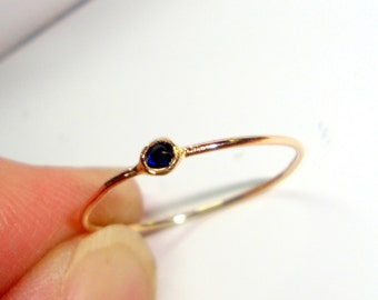 Ring Tiny birthstone in 10K  14k gold, sterling silver - Custom Made size - Fair Trade, eco-friendly, conflict free stacking thread skinny