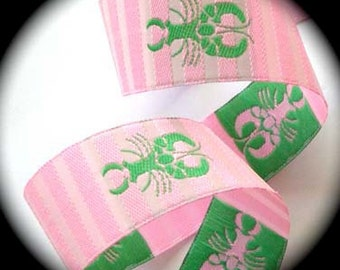 "Lobster Ribbon 1 1/8"" x 2 Yards - Pink/Pink stripes w/Green Lobster - Darling Woven Jacquard"